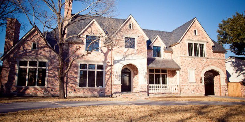 University Park English Style Custom Home Exterior
