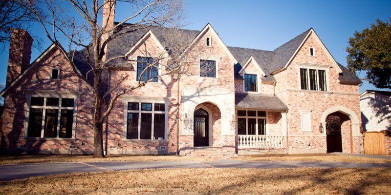 University Park English Style Custom Home Exterior