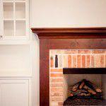University Park English Style Custom Home Brick Fireplace